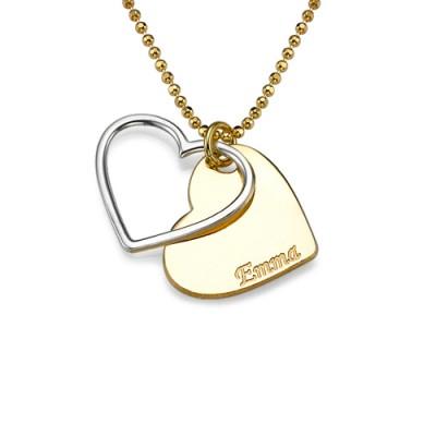 Personalisierte Zwei Ton Herz Halskette für Paare