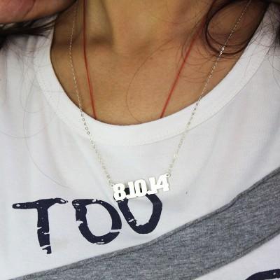 Männer Einzigartige Sterling Name Halskette Schmuck Silber Nummer NPyv0wO8mn