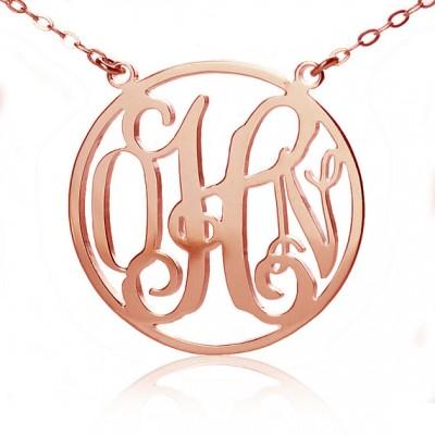 Kreis 18ct Fest Rose Gold Initialen Monogramm Namenskette