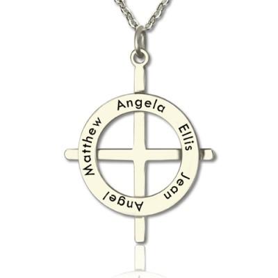Silber Latin Art Kreis Kreuz Halskette mit allen möglichen Namen