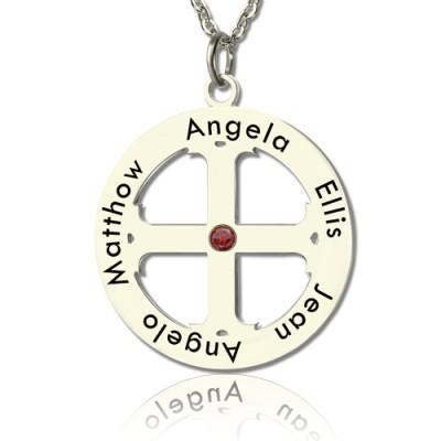 Family Circle Kreuz Name Halskette Silber
