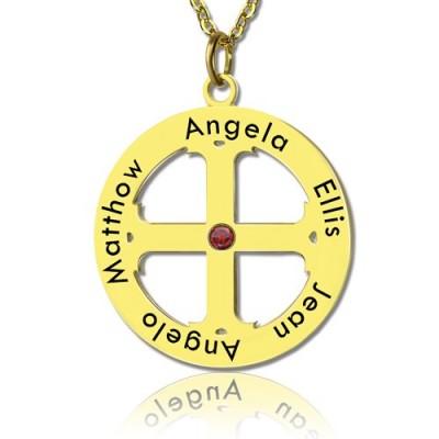 Kreuz Name Halskette mit Kreis Rahmen 18 karätigem Gold überzogen 925 Silber