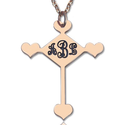 Benutzerdefinierte 18ct Rose Gold überzogene Kreuz Monogramm Halskette