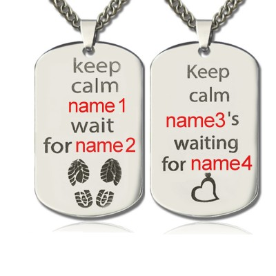 Personalisierte Netter His and Hers Dog Tag Halskette Sterling Silber