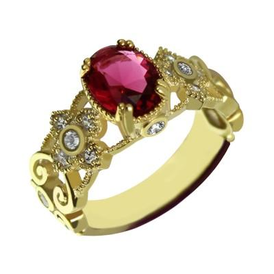 Gravierte Name Mantilla Oval Verlobungsring 18ct Gold überzogenes 925 Silber