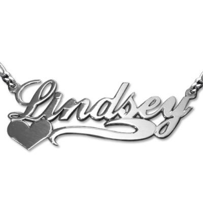 Doppel Dicke Side Herz Silber Namenskette