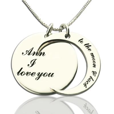 Personalisierte Ich liebe dich zum Mond und zurück Liebe Halskette aus Sterling Silber