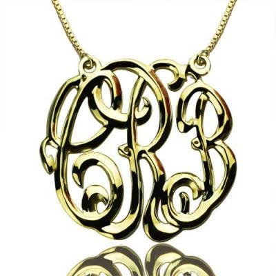Promi Cube Premium Monogramm Halskette Geschenke 18 karätigem Gold überzogen