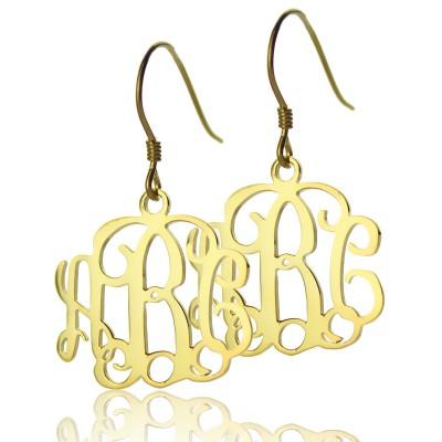 18ct Gold überzogene Monogramm Ohrringe