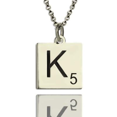 Scrabble Anfangsbuchst Halskette aus Sterling Silber