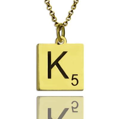Gravierte Scrabble Anfangsbuchst Halskette 18 karätigem Gold überzogen