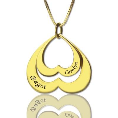 Herz in Herz Namen Anhänger in 18 Karat Gold überzogener