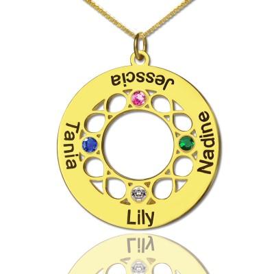 Infinity Birthstone Family Names Halskette 18 karätigem Gold überzogen