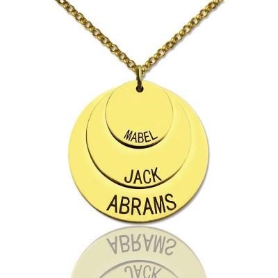 Disc Halskette mit Kindernamen für Mamma 18ct Gold überzogen