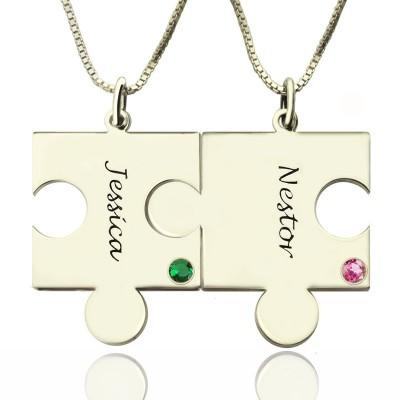 Gravierte Puzzle Halskette für Paare Liebe Halsketten Silber