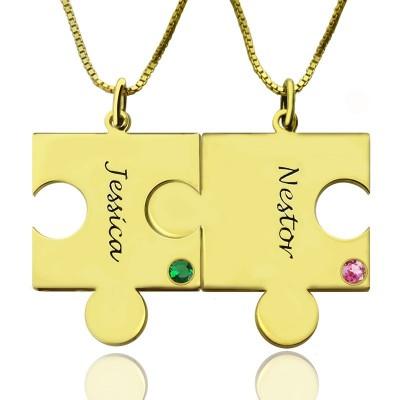 Passendes Puzzle Halskette für Paare mit Namen Geburtsstein 18ct Goldplatte
