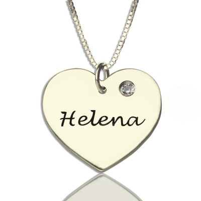 Sterlingsilber einfache Herz Namen Halskette mit Birthstone