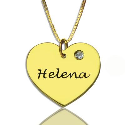 Einfache Herz Halskette mit Namen Birhtstone 18 karätigem Gold überzogen