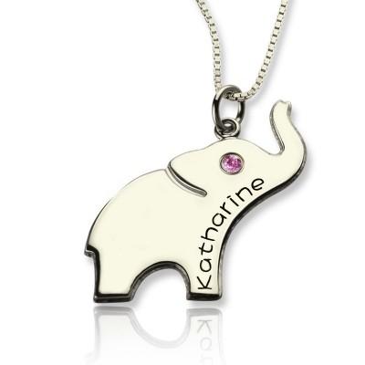 Good Luck Geschenke Elefant Halskette Gravierte Name