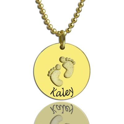 Personalisierte Baby Abdrücke Namenskette 18 karätigem Gold überzogen