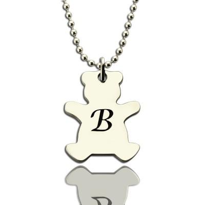 Personalisierte Teddybär Initial Halskette aus Sterling Silber