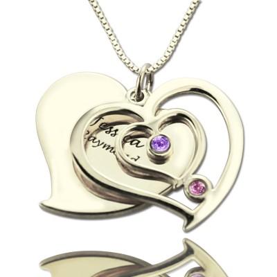 Personalisierte Paare Geburtsstein Herz Namen Halskette