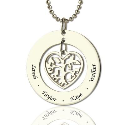 Personalisierte Herz Stammbaum Halskette aus Sterling Silber