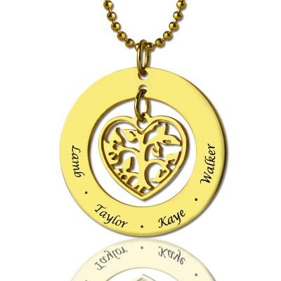 Kreis Stammbaum Anhänger Halskette In 18kt Gold überzogenen