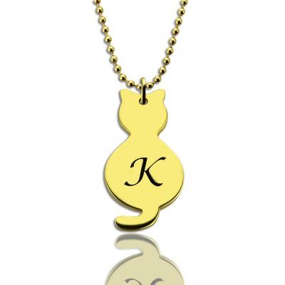 Gold über Cat Initial Anhänger Halskette