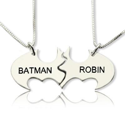 Batman Bester Freund Name Halskette aus Sterling Silber
