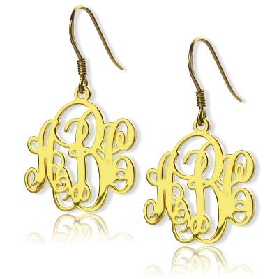 Skript Monogramm Initialen Ohrringe 18 karätigem Gold überzogen