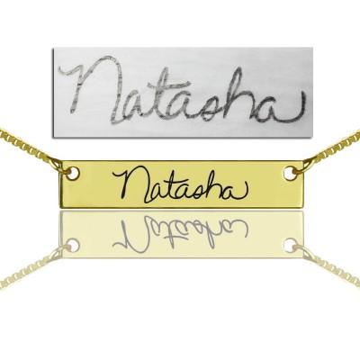 Amuletten Signature Bar Halskette Handwritring 18 karätigem Gold überzogen