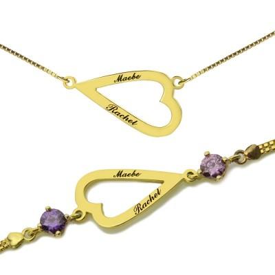 Öffnen Sie Herz Liebes Halsketten Armband mit eingraviertem Namen