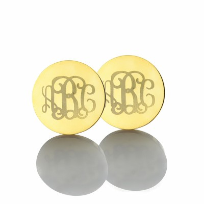 Gravierten Monogramm Bolzen Ohrringe in Gold