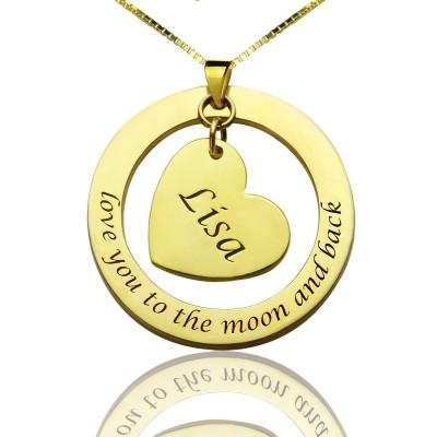 Individuelles Mom Ich liebe dich zum Mond und zurück Halskette