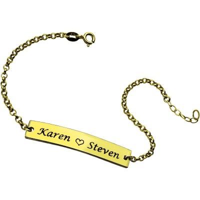 Paar Bar Armband mit eingraviertem Namen 18ct Gold überzogen
