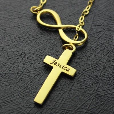 Infinity Symbol Kreuz Name Halskette 18 karätigem Gold überzogen