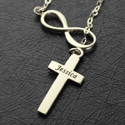 Infinity Kreuz Name Halskette aus Sterling Silber