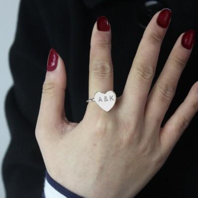 Gravierte Schatz Ring mit Doppel Initialen Sterling Silber