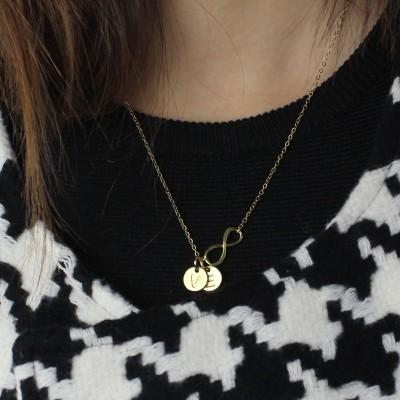 Infinity Halskette mit Disc Anfangscharme 18 karätigem Gold überzogen