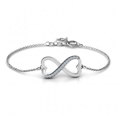 Personalisierte Doppel Herz Infinity Armband mit Akzenten