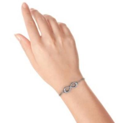 Personalisierte Doppel Stein Unendlichkeit Accent Armband