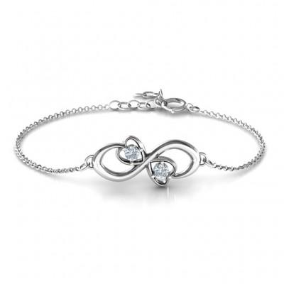 Personalisierte Duo der Herzen und Steine Infinity Armband