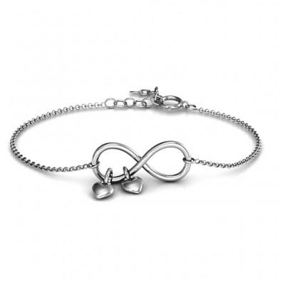 Infinity Versprechen Armband mit zwei Herzanhänger