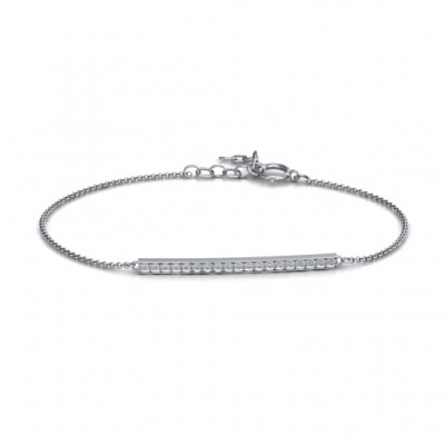 Sterling Silber Beaming Bar Armband mit Zirkonia Accent Stones