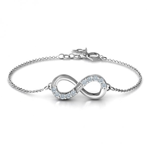 Sterling Silber Birthstone Accent Infinity Armband