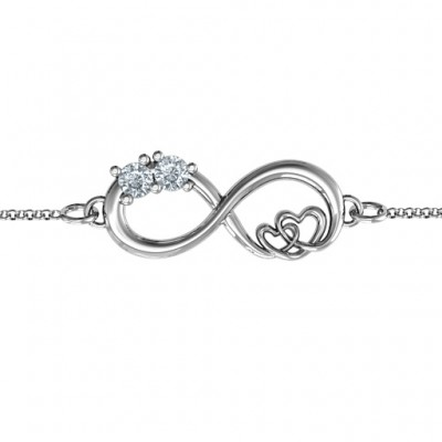 Sterling Silber Doppel the Love Infinity Armband