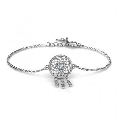 Personalisierte Sterling Silber Traumfänger Armband