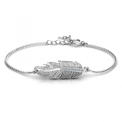 Sterling Silber Feder mit Accent Stone Armband