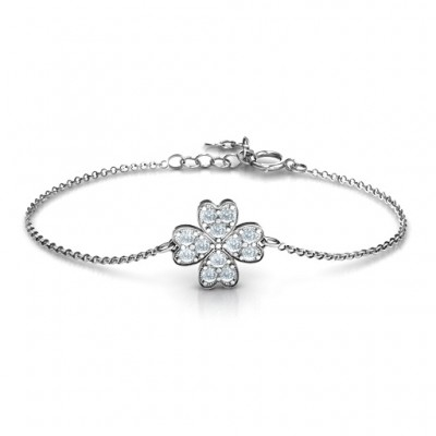 Sterling Silber Vier Blatt Herz Klee Armband